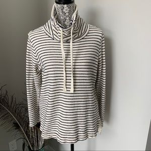 LOU & GREY Mock Pullover Striped Size Small